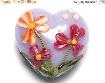 ON SALE 35% OFF Morgan's Bouquet Heart (Large) - 11833525 - Handmade Glass Lampwork Beads