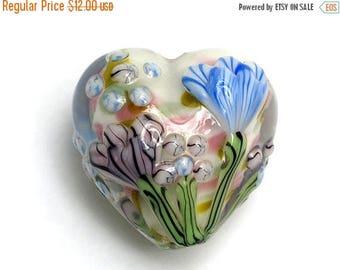 ON SALE 35% OFF Light Pink w/Blue Floral Heart Focal Bead - Handmade Glass Lampwork Bead - 11805105