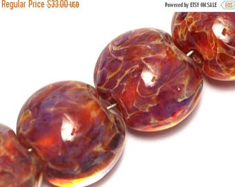 ON SALE 30% off Glass Lampwork Bead Set - Four Yellow-orange & Purple Free Style  Lentil Beads 10602112