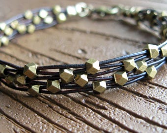 Brass Leather Woven Bracelet-Open Weave-Solid Brass Beads-Faceted Brass-Antiqued Brass-Rustic-Metal Beaded Bracelet-Brown Leather