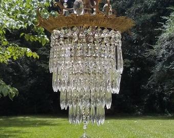 Antique Crystal Chandelier, Crystal Wedding Cake Chandelier, Antique Tiered Chandelier, Vintage Lighting Crystal Chandelier