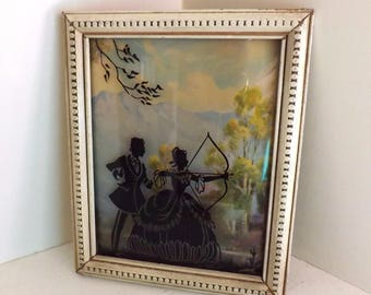 Vintage Silhouette Framed Picture Lady and Gentleman Archery Scene Landscape Background 1940s Woman and Man
