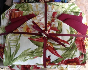 Tropical Anthirium & Orchids floral placemats (No Napkins)