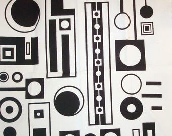"26"" x 29"" unused fabric Melinamade Original Screenprinted Fabric Midcentury Modern Design Barkcloth."