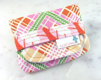 Birth Control Case, Birth Control Holder, Pink and Orange, Plaid, Pill Sleeve, Pill Wallet, Birth Control Pouch, Pill Pouch, Heather Bailey