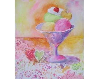 Original Painting * Ice Cream Sundae * Heart Cookies * Watercolor Painting * Dessert Art * By Rodriguez