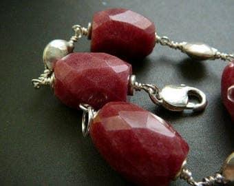 Chunky rhodonite and silver Boho bracelet - Thai beads, fine silver, semi-precious stone