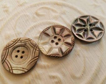 Vintage Buttons - Amazing mother of pearl, 3 large assorted carved designs (July 385 17)
