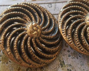 Vintage Buttons - bronze filigree metal lot of 2 large matching twinkle/ mirror backs (Aug 264 17)
