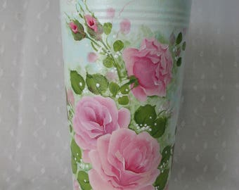 French Bucket Vase Hand Painted Pink Roses Aqua Home Decor