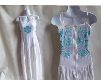 Vintage 70s Dress Size M White Blue rayon Lace Openwork Hippie Boho Festival