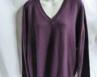Vintage 100% Cashmere Sweater Size L Purple Boyfriend V Neck Nordstrom Tunic
