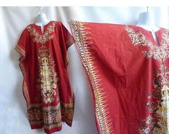 Vintage Dress Kaftan Size XL Rust Orange Batik Hippie Boho Dashiki Festival