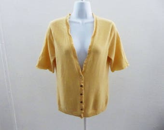 100% Cashmere Sweater Size S Pastel Yellow Cardigan Garnet Hill Short Sleeves