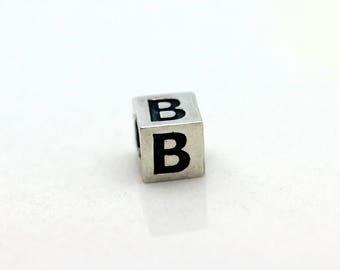 Sterling Silver Alphabet B Block Cube Square Bead 4mm