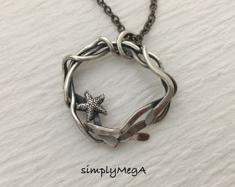 silver starfish and silver kelp ooak seaweed  pendant on 18 inch gunmetal chain ready to ship