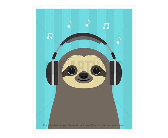 30J Headphones Art Print - Sloth with Headphones Wall Art - Music Lover Gift - Headphones Drawing - Boys Room Wall Art - Funny Animal Art
