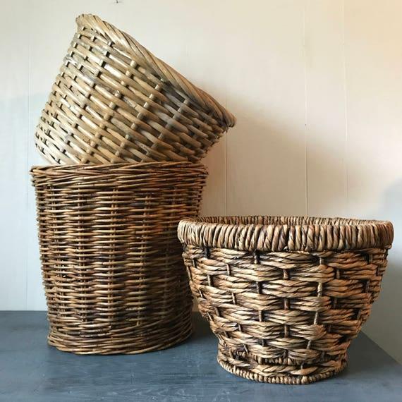 vintage large bamboo baskets - deep round brown rattan planters - woven boho storage