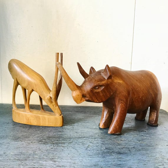 vintage carved animals - mini rhino gazelle wooden sculpture - global safari tribal boho