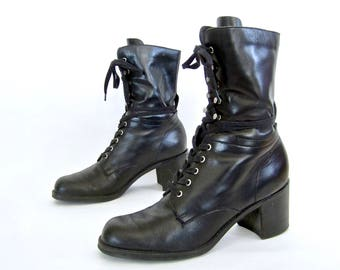 vintage 1990s BLACK leather lace up PLATFORM ankle boots nine west combat booties womens 8 1/2 street style grunge chic WITCHY stevie nicks