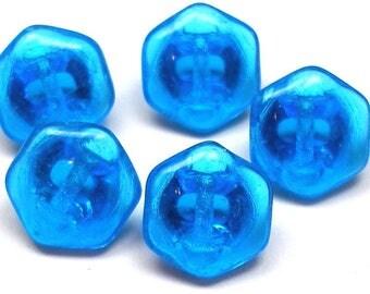 """Czech Glass Buttons, 5 translucent blue hexagon 7/16"""", 11mm."""