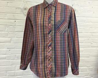 1980s Plaid Shirt with Lurex, Size M