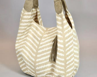 Canvas & Leather Bucket Hobo Bag, Suede Leather and Chevron Canvas Bucket Bag, Taupe and Natural White Chevron Purse, Handmade BunkyBags USA