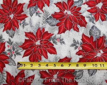 Holiday Flourish Silver Metallic Red Poinsettia's BY YARD Robert Kaufman Fabric