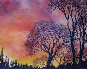 Sunset Lace IX an original watercolor