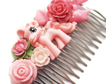 Pony Hair Comb-MLP Wedding Comb-Pink Rose Comb-Cluster Hair comb-Sweet lolita comb-EGL Fashion comb-Horse hair clip-MLP Bridal Comb-Furry
