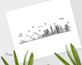 Cairo/Giza, Egypt - Africa - Instant Download Printable Art - City Skyline Series