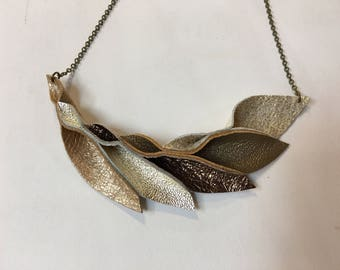 Petal Collection: Golden Leather Petal Necklace