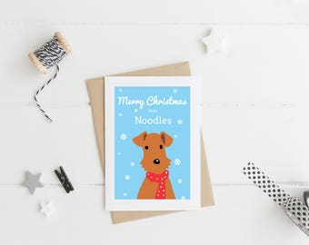 Christmas Card From The Dog - Welsh Terrier Card - Airedale Card - Terrier Xmas Card - Welsh Terrier Xmas - Dog Christmas Card