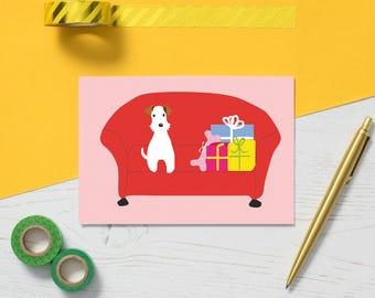 Fox Terrier Christmas Card - Terrier Card - Merry Christmas Card - Dog with Presents - Dog Christmas Card - Fox Terrier Xmas