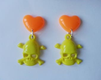 Earrings hearts and skulls ♥ ♥ Orange and yellow
