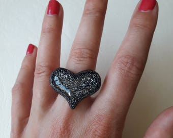 ♥ ♥ Black sequin heart ring