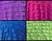 """1"""" Pink Purple Teal (Blue/Green) Lime Green Ruffle Stretch Fabric BTY"""