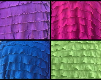 "1"" Pink Purple Teal (Blue/Green) Lime Green Ruffle Stretch Fabric BTY"