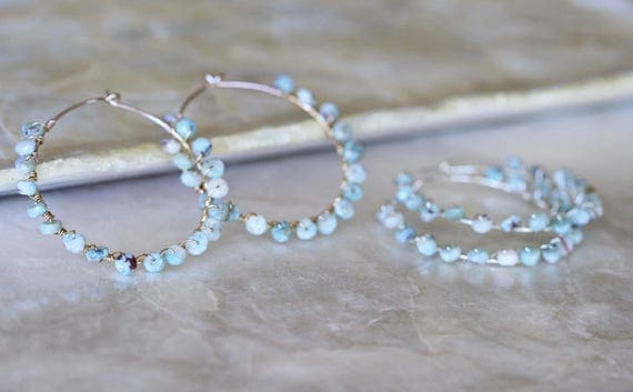 Larimar Hoop Earrings, Round Hoop Earrings, Beaded Hoop Earrings, Blue Hoop Earrings, Gemstone Earrings, Gemstone Hoop Earrings