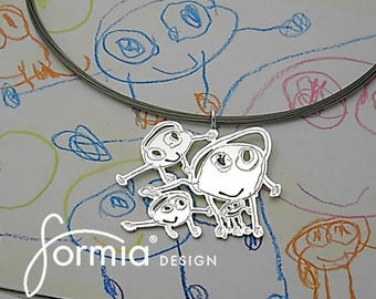 Small 1 inch pendant necklace with Your childs drawing