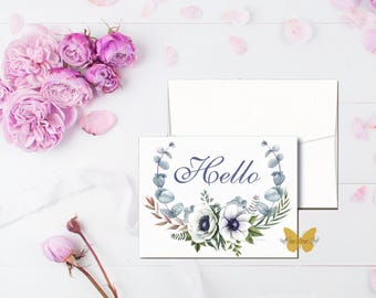 Hello Note Cards, Watercolor Note Cards, Greeting Cards