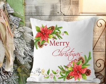 Merry Christmas Poinsettia Pillow