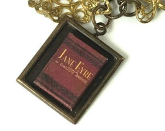 Jane Eyre Hidden Book necklace with Readable Miniature book Charlotte Bronte Author