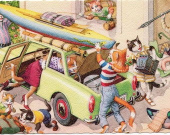 Vacation time. Mainzer dressed cats,  Postcard no. 4977, printed in Belgium