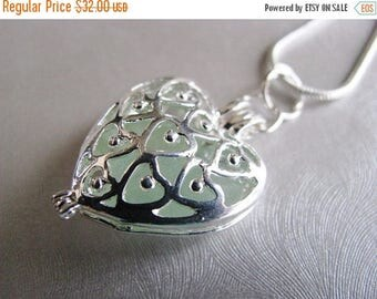 SEA GLASS SALE Seafoam Sea Glass Heart Locket - Heart Locket Necklace - Heart Pendant