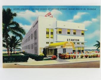 Hotel Stanton On the Ocean at Second Street Miami Beach Florida Linen Postcard 21466