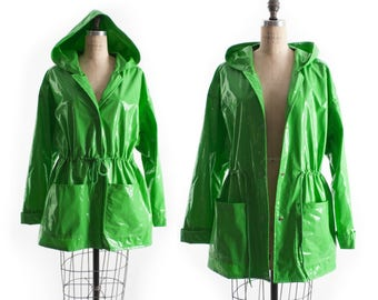 Vintage 80s Raincoat // 1980s Raincoat // GLOSSY PVC Wet Look Green Rain Coat // Cinched Waist Jacket // Hooded Raincoat - sz L