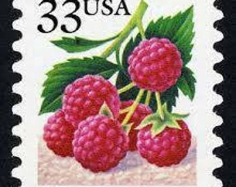 Five (5) vintage unused postage stamps - Raspberry // 33 cent stamps // Face value 1.65