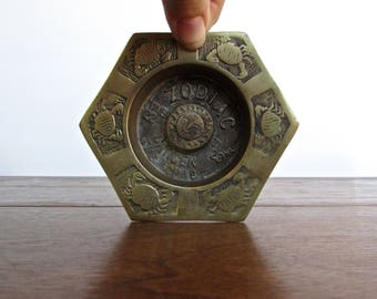Personal Zodiac Cancer Mid Century Brass Ashtray, Age of Aquarius Collectible