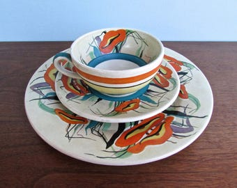 Art Nouveau 1930s Revival Low Fired Luncheon Set, Curvy Green & Blue Design, Signed and Dated 1937